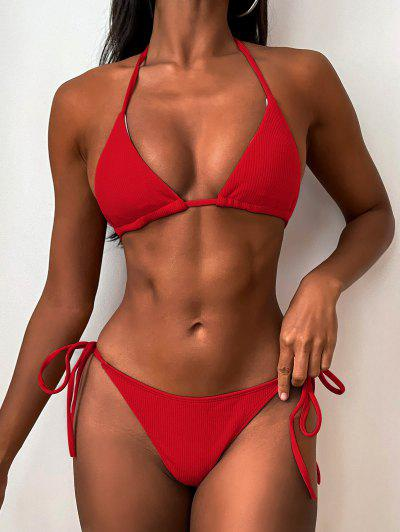 Ribbed String Bikini Set - Love Red S