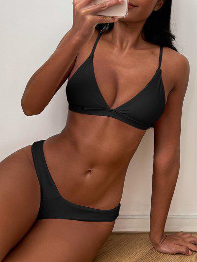 Soft Pad Spaghetti Straps Thong Bikini Set - Black M