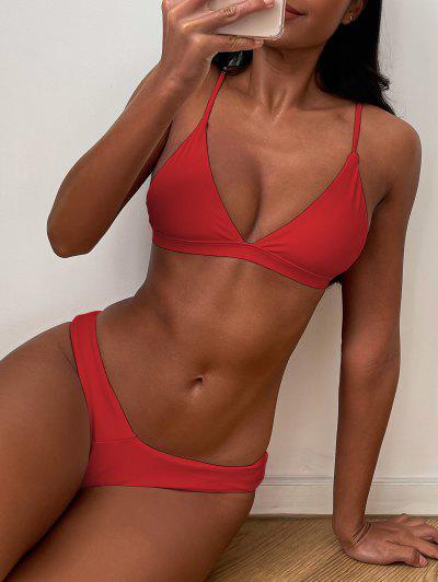Soft Pad Spaghetti Straps Thong Bikini Set - Red S