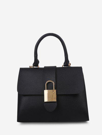 Lock Embellished Cover Handbag - Black