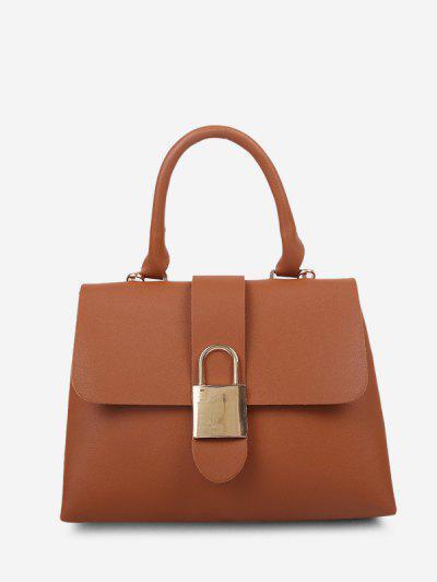 Lock Embellished Cover Handbag - Light Brown