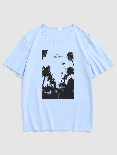 California Palm Tree Graphic T-shirt - Light Blue M