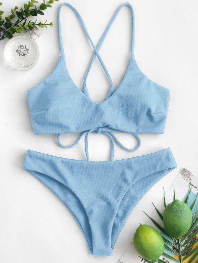 ZAFUL Criss Cross Textured Padded Bikini Swimsuit - Denim Blue S