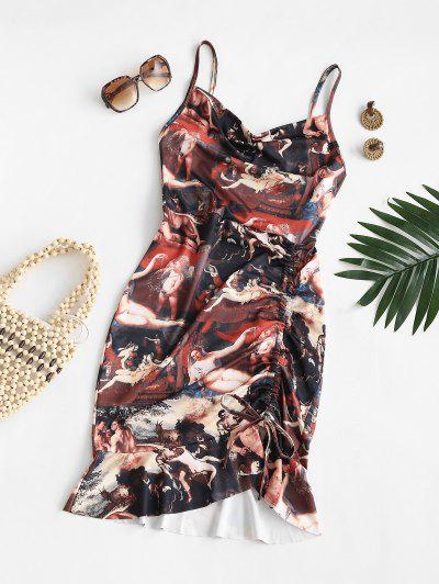 Cowl Front Renaissance Print Cinched Mermaid Dress - Deep Coffee S
