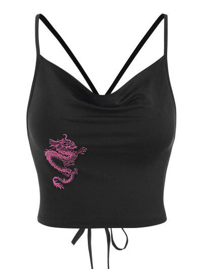 Dragon Embroidered Oriental Lace Up Crop Top - Black L