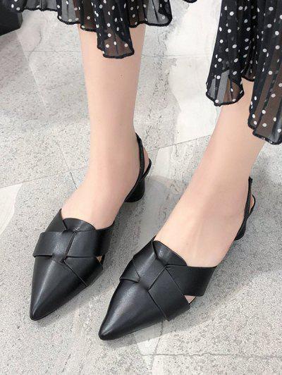 Pointed Toe Cross Block Heel Sandals - Black Eu 37