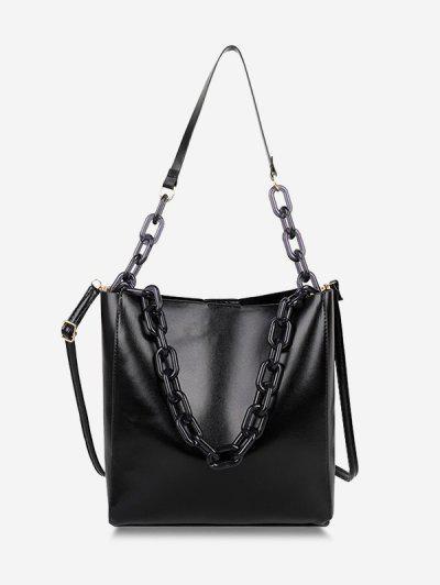 High Capacity Chain Bucket Crossbody Bag - Black