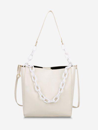 High Capacity Chain Bucket Crossbody Bag - White