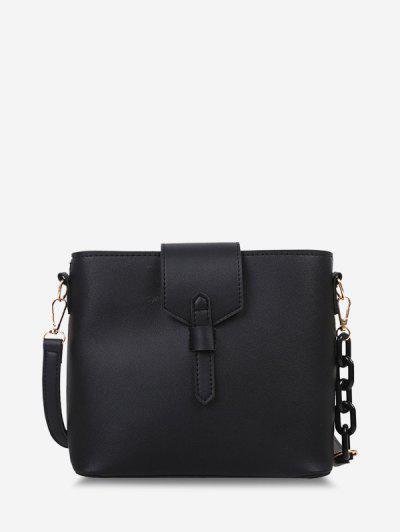 Brief Square Quarter Chain Crossbody Bag - Black