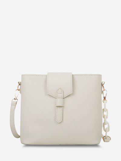 Brief Square Quarter Chain Crossbody Bag - White