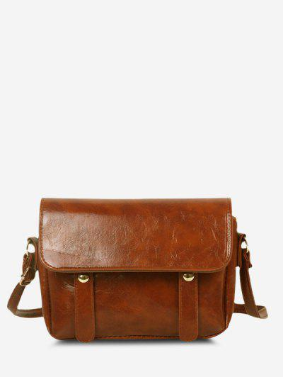 Retro Crossbody Messenger Bag - Light Brown