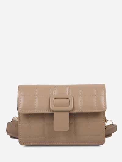 Buckle Rectangle Quilted Crossbody Bag - Light Khaki