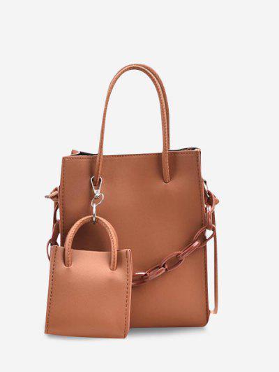 2Pcs Rectangle Chain Tote Bag Set - Tangerine