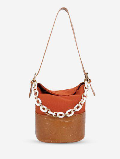 PU Retro Chain Solid Bucket Shoulder Bag - Light Brown