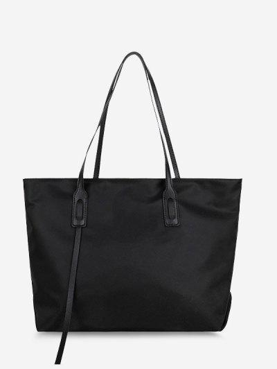 PU Solid Tote Shoulder Bag - Black