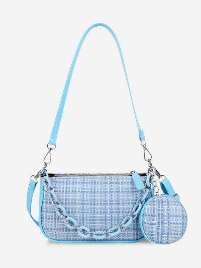 PU Zipper Check Chain Shoulder Bag - Denim Blue