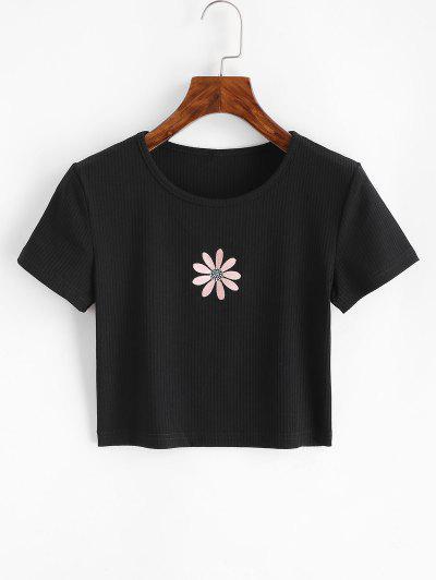 T-shirt Côtelé Fleur Brodée Pour Bébé - Noir S