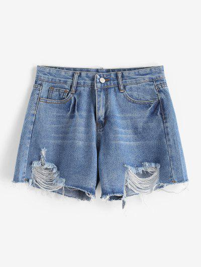 Ripped Frayed Hem Pocket Denim Shorts - Blue L
