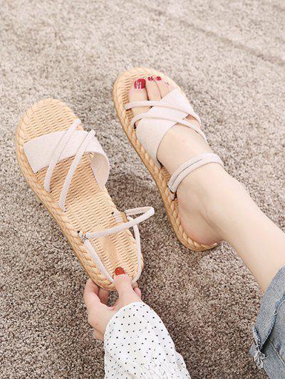 Criss Cross Strappy Slides Sandals - Warm White Eu 37