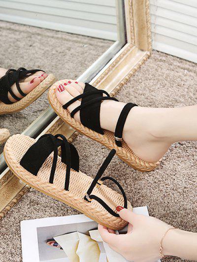 Criss Cross Strappy Slides Sandals - Black Eu 38
