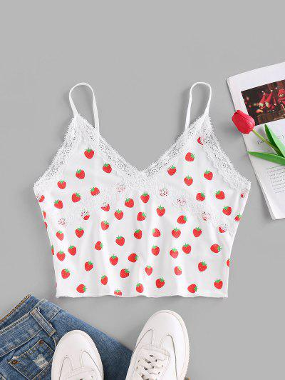 ZAFUL Strawberry Print Lace Insert Crop Camisole - White S