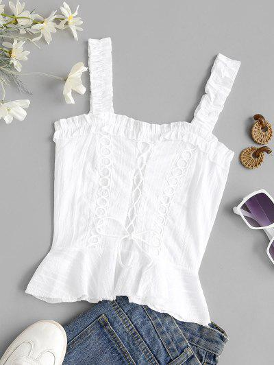 Lace Up Smocked Ruffle Lettuce Trim Top - White M