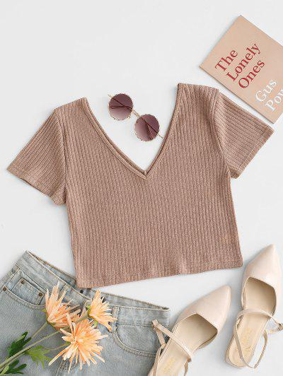 Rib Knit Plunging Crop T Shirt - Light Coffee L