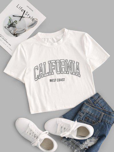 California Graphic Crop T Shirt - White S