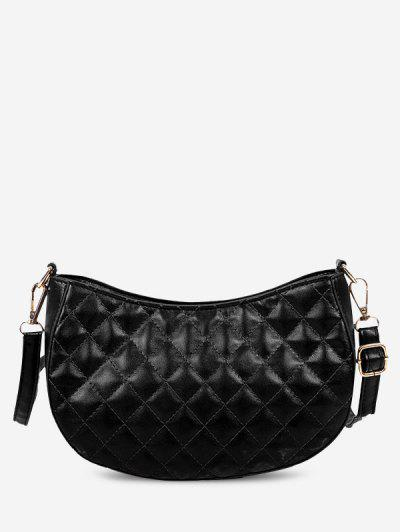 Retro Quilted Solid Crossbody Bag - Black