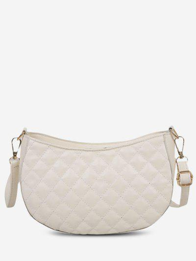 Retro Quilted Solid Crossbody Bag - White