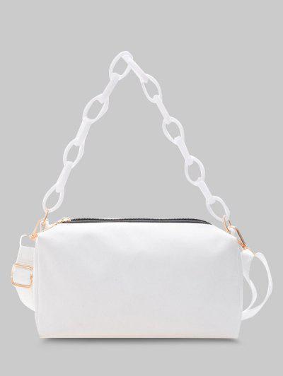 Rectangle Chain Crossbody Bag - White