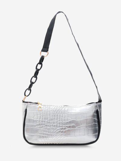 Half Chain Embossed Shoulder Bag - Silver
