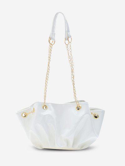 Pleated Chain Shoulder Bag - White