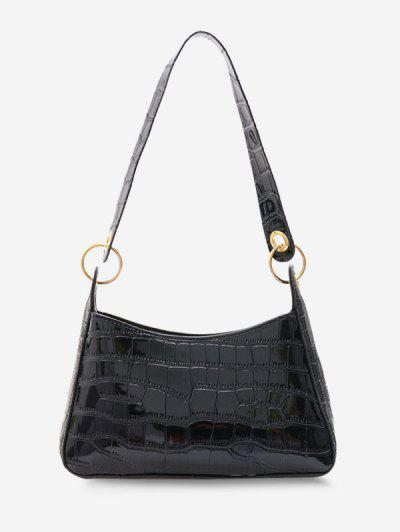 Textured O Rings Shoulder Bag - Black