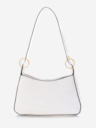 Textured O Rings Shoulder Bag - White