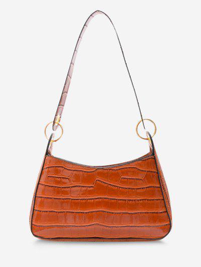 Textured O Rings Shoulder Bag - Brown