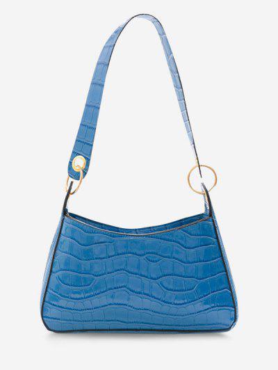 Textured O Rings Shoulder Bag - Blue