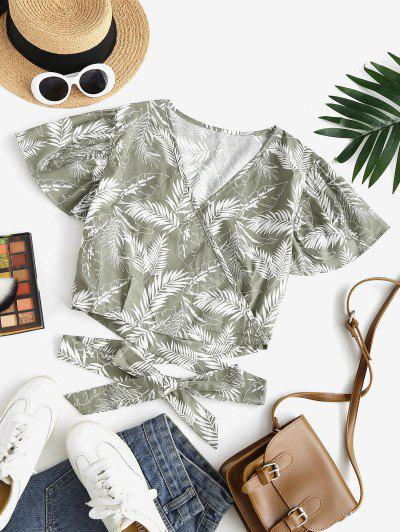 Leaf Print Tropical Surplice Tied Blouse - Light Green S