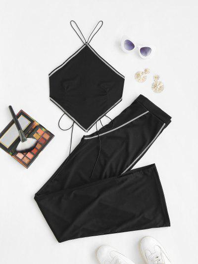 Topstitching Bandana Tied Top And Flare Pants Set - Black M