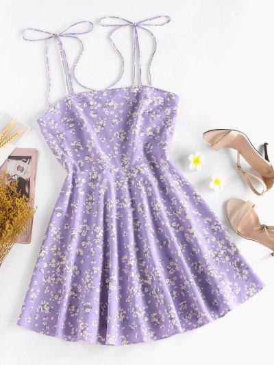 ZAFUL Ditsy Print Tie Shoulder Sleeveless Dress - Light Purple M