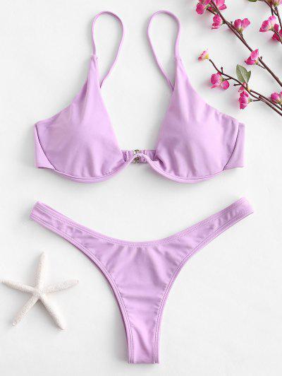 Bikini Con Scollo Profondo - Mauve S