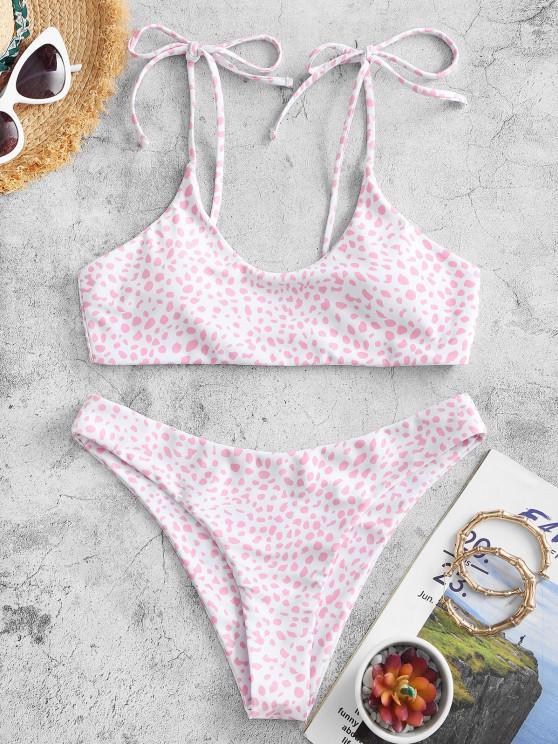 ZAFUL Conjunto de Biquíni com Laço Estampado Bralette - Luz rosa S