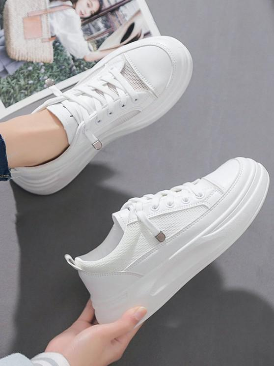 latest Lace Up Mesh Platform Sneakers - WHITE EU 40