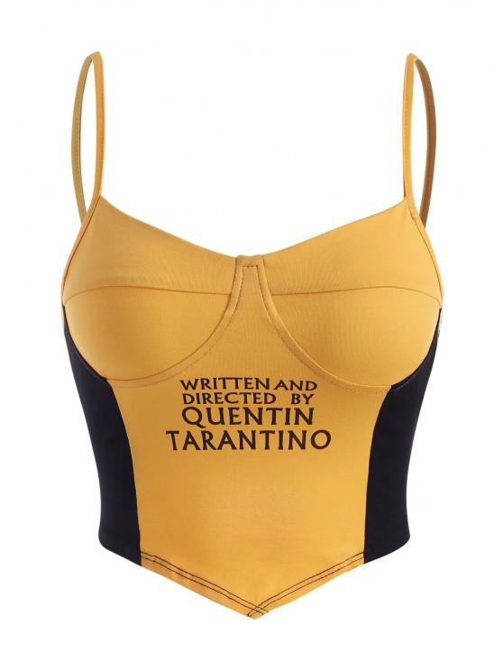 best Two Tone Graphic Cupped Bralette Cami Top - YELLOW M
