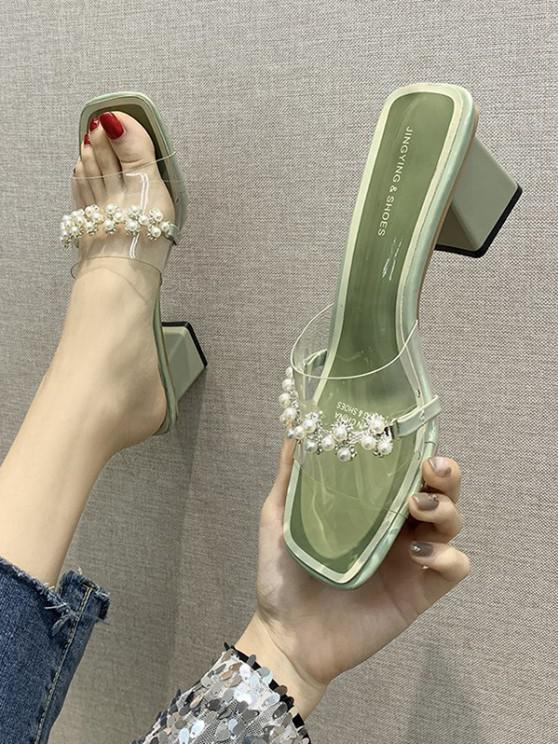 fashion Faux Pearl Chunky Heel Slides Sandals - GREEN PEAS EU 39