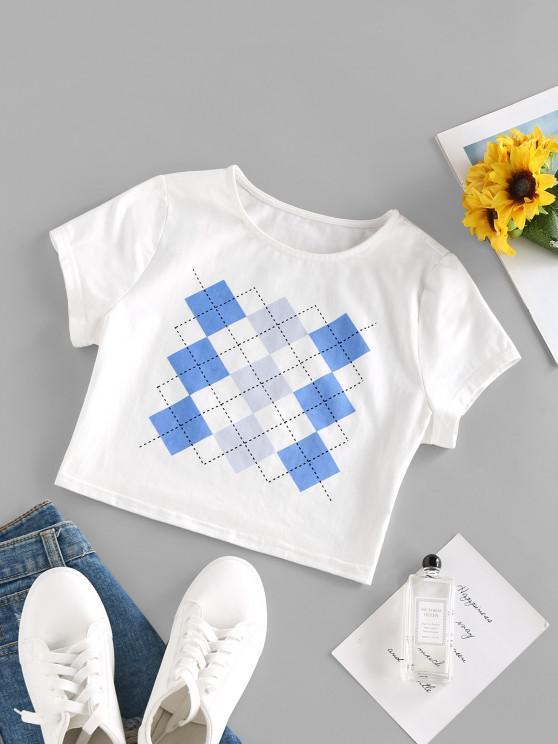 new ZAFUL Argyle Print Crop T Shirt - WHITE S