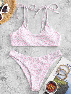 ZAFULConjunto De Bikini De Bralette Con Estampado De Lazo - Rosa Claro S