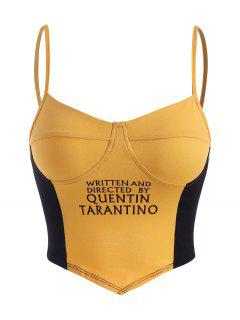 Two Tone Graphic Cupped Bralette Cami Top - Yellow M