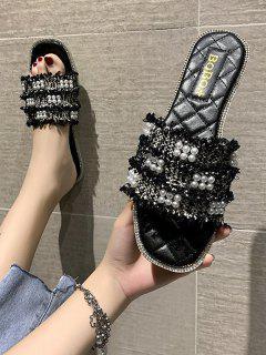 Faux Pearl Woven Flat Slippers - Black Eu 39