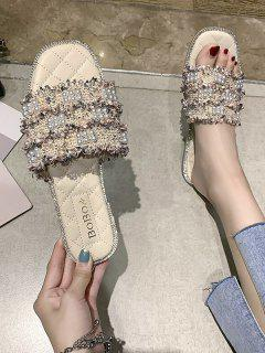 Faux Pearl Woven Flat Slippers - Pink Eu 39